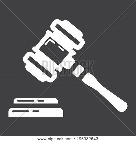 Auction hammer glyph icon, business and finance, judge gavel sign vector graphics, a solid pattern on a black background, eps 10.