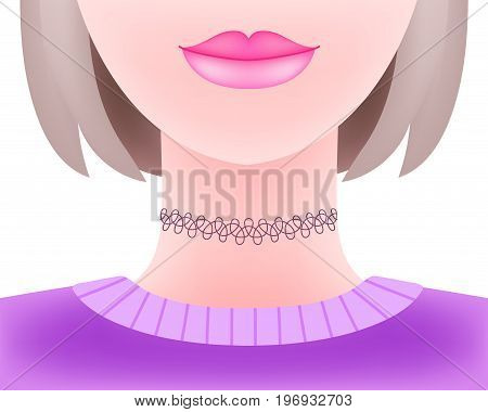 Hot attractive girl wearing 90s style plastic lacy tattoo choker necklace. Jewelry model in violet pullover isolated on white background. Young stylish fashionable woman with bob haircut portrait.