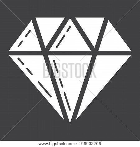Diamond glyph icon, business and finance, gem sign vector graphics, a solid pattern on a black background, eps 10.