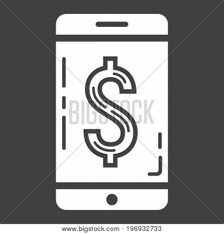 Mobile banking glyph icon, business and finance, phone sign vector graphics, a solid pattern on a black background, eps 10.