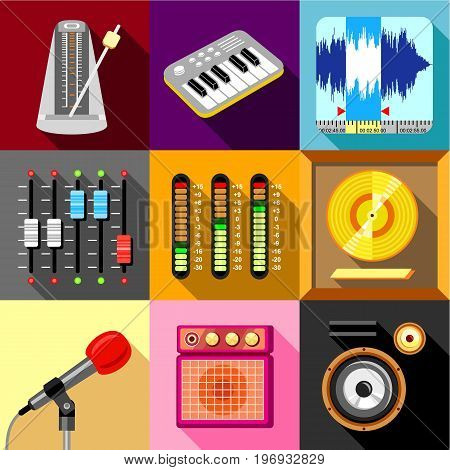 Sound recording studio icons set. Flat set of 9 sound recording studio vector icons for web with long shadow