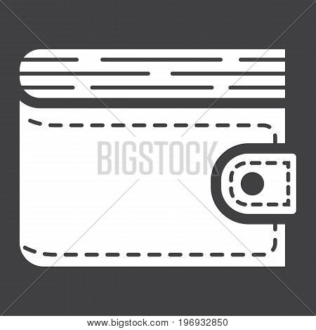 Wallet glyph icon, business and finance, purse sign vector graphics, a solid pattern on a black background, eps 10.