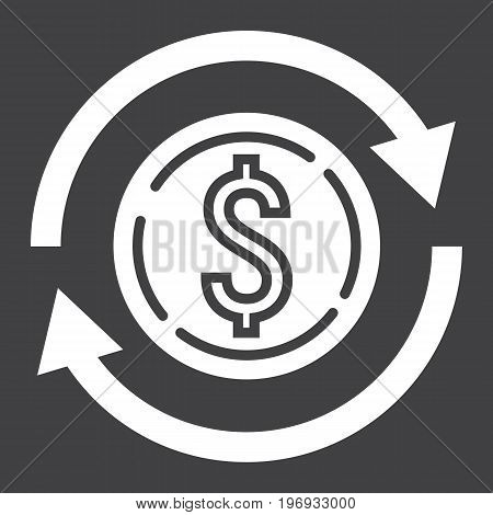 Exchange glyph icon, business and finance, dollar sign vector graphics, a solid pattern on a black background, eps 10.