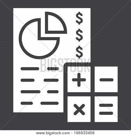Budget planing glyph icon, business and finance, calculate sign vector graphics, a solid pattern on a black background, eps 10.