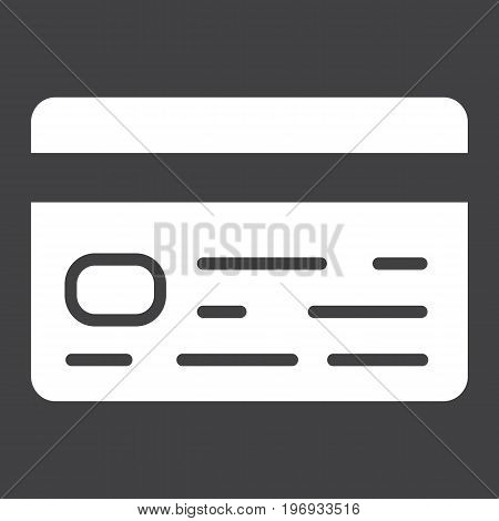 Credit card glyph icon, business and finance, banking sign vector graphics, a solid pattern on a black background, eps 10.