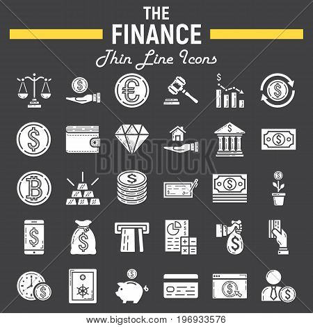Finance glyph icon set, business symbols collection, marketing vector sketches, logo illustrations, business signs, solid pictograms package isolated on black background, eps 10.
