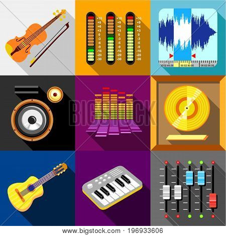Equalizer icons set. Flat set of 9 equalizer vector icons for web with long shadow