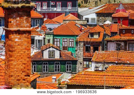 Colorful Miniature Tilt-shift View Of Old City Center, Porto, Portugal