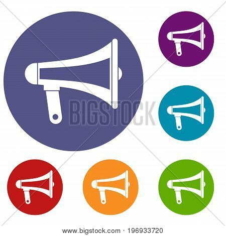 Loudspeaker icons set in flat circle red, blue and green color for web