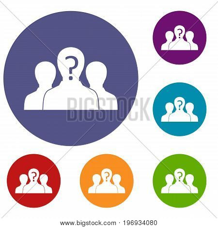 Group of people with unknown personality icons set in flat circle red, blue and green color for web