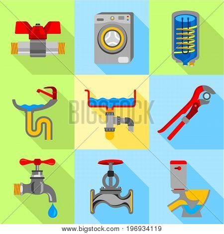 Plumbing icons set. Flat set of 9 plumbing vector icons for web with long shadow