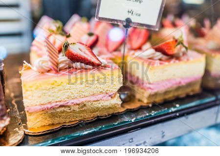 Strawberry Cake Slice Strips With Vanilla Layers And Cream