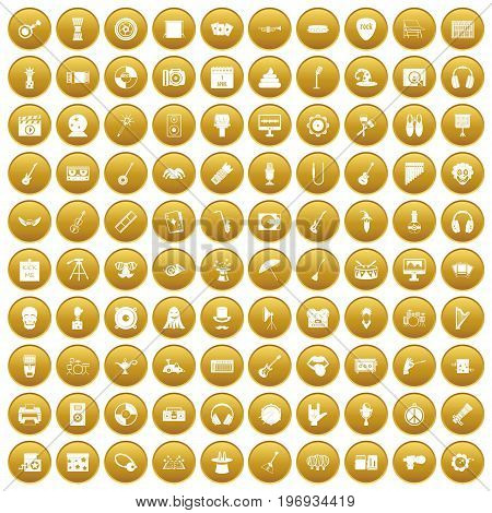 100 show business icons set in gold circle isolated on white vector illustration