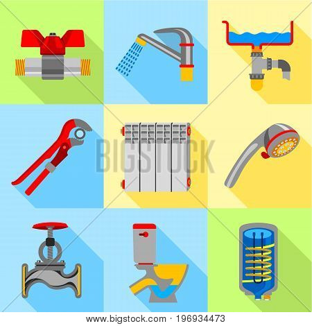Type of plumbing work icons set. Flat set of 9 type of plumbing work vector icons for web with long shadow