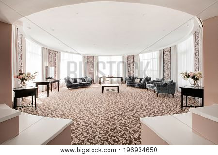 Hotel apartment, bedroom interior in the morning. luxury large room