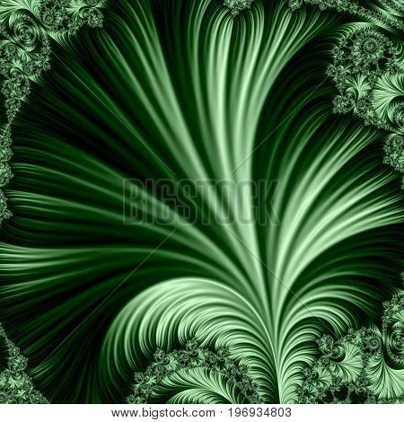 Green fractal. Big leaf. Blurred copy space. Abstract illustration.
