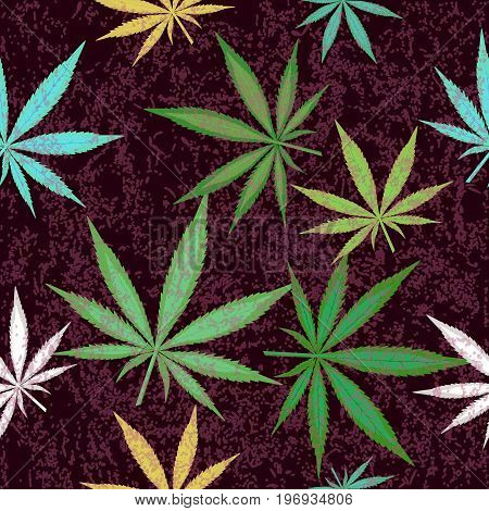 Seamless pattern with colorful leaves of marijuana. Vector illustration