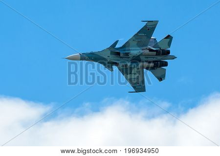 Moscow Region - July 21, 2017: Russian strike fighter Su-30 at the International Aviation and Space Salon (MAKS) in Zhukovsky.