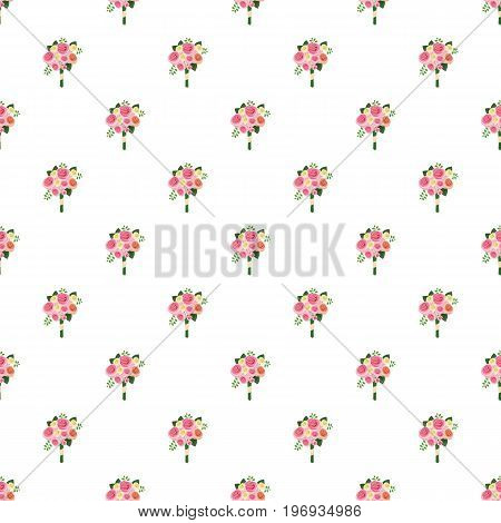 Wedding bouquet of pink roses pattern seamless repeat in cartoon style vector illustration