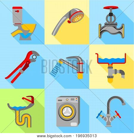 Plumbing trouble icons set. Flat set of 9 plumbing trouble vector icons for web with long shadow