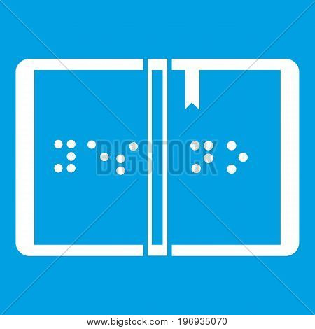 Braille icon white isolated on blue background vector illustration