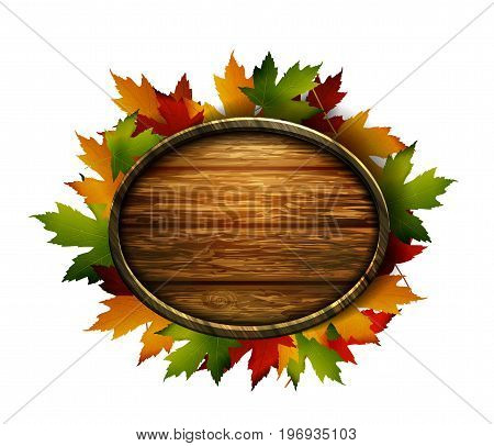Vector realistic illustration of autumn wooden signboard