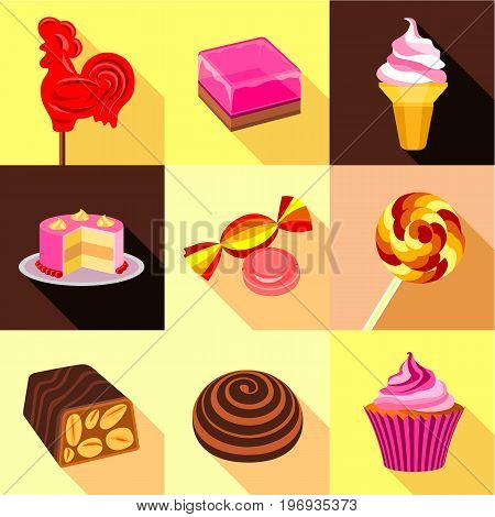 Different sweet candy icons set. Flat set of 9 different sweet candy vector icons for web with long shadow