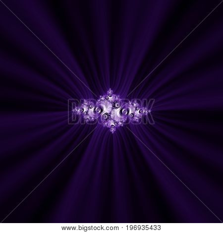 Purple fractal. Julia fractal. Light swirls on a dark background. Focus in centre.