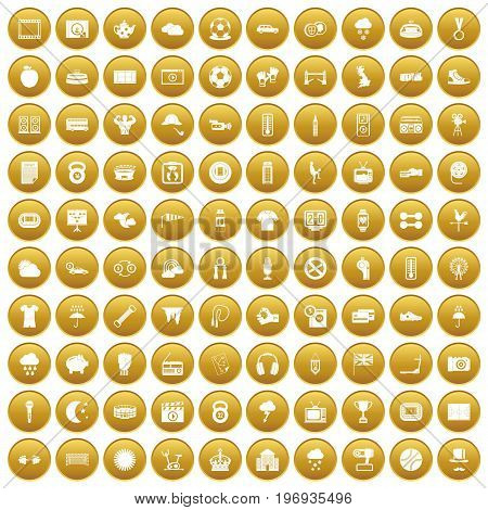 100 soccer icons set in gold circle isolated on white vector illustration