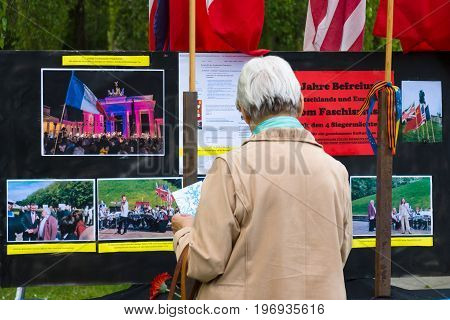 BERLIN - MAY 08 2015: Victory in Europe Day. Treptower Park. Information stand about memorable event.