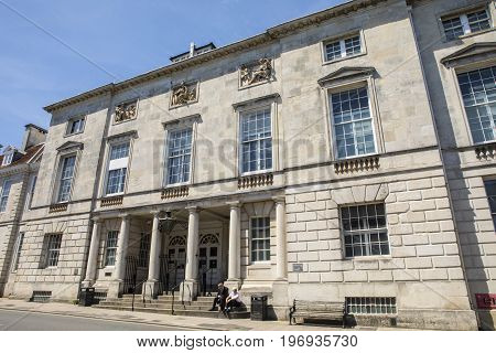 LEWES UK - MAY 31ST 2017: A view of the exterior of County Hall in the town of Lewes in East Sussex UK on 31st May 2017.