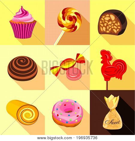 Sweets and candy icons set. Flat set of 9 sweets and candy vector icons for web with long shadow