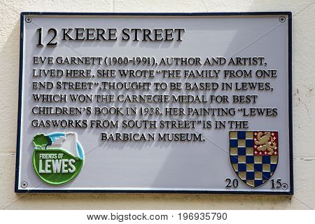 LEWES UK - MAY 31ST 2017: Plaque on Keere Street in the historic town of Lewes in East Sussex where author and artist Eve Garnett once lived - taken on 31st May 2017.