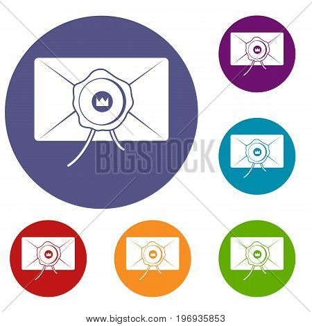 Envelope with wax seal icons set in flat circle red, blue and green color for web