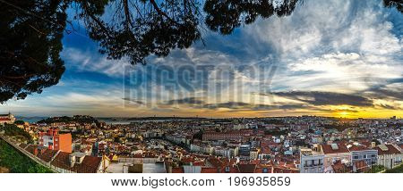 Beautiful Colorful Sunset Panoramic Landscape Aerial View Of Lisbon