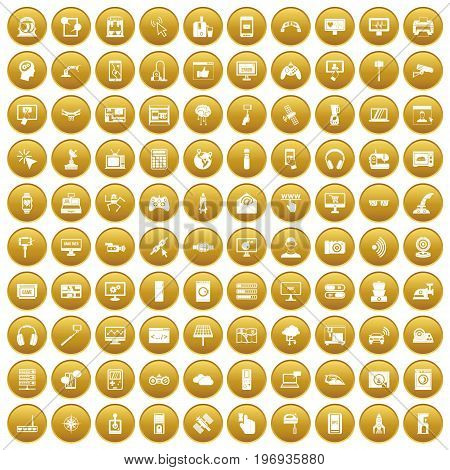 100 software icons set in gold circle isolated on white vector illustration