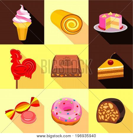 Various candy elements icons set. Flat set of 9 various candy elements vector icons for web with long shadow