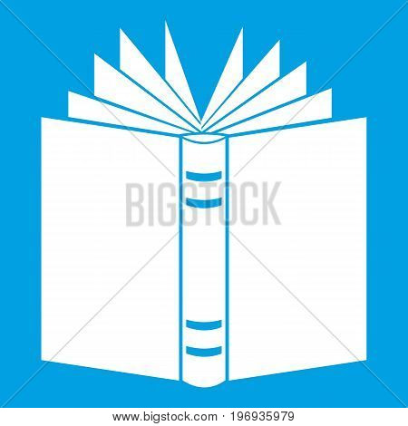 Open thick book icon white isolated on blue background vector illustration