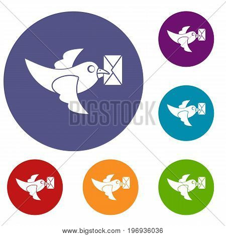 Pigeon fly with mail icons set in flat circle red, blue and green color for web