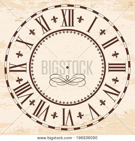 Vintage Roman numeral clock with the effect of aging.