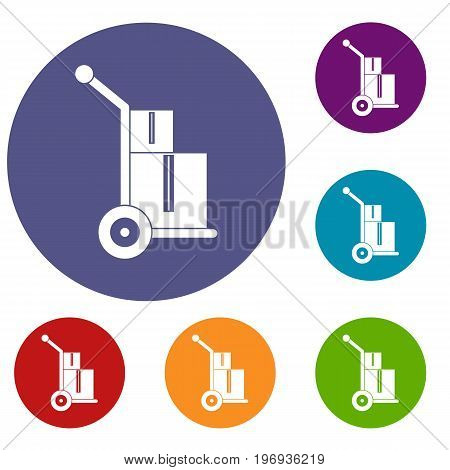 Truck with boxes icons set in flat circle red, blue and green color for web