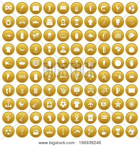 100 South America icons set in gold circle isolated on white vector illustration