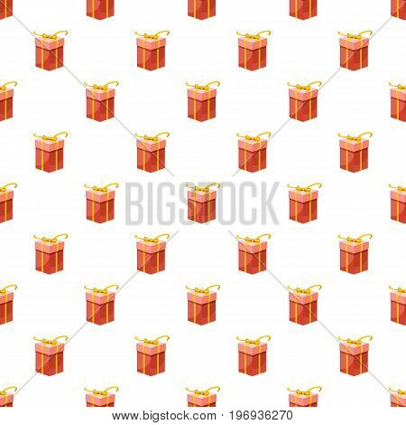 Red gift box with yellow ribbon pattern seamless repeat in cartoon style vector illustration