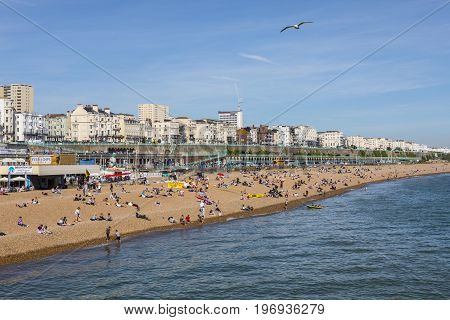 BRIGHTON UK - MAY 31ST 2017: The coastline view from Brighton Pier in Brighton East Sussex on 31st May 2017.