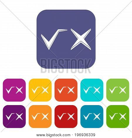 Tick and cross icons set vector illustration in flat style in colors red, blue, green, and other