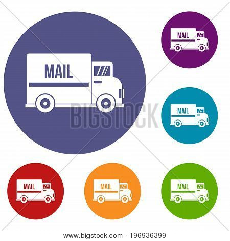 Mail truck icons set in flat circle red, blue and green color for web