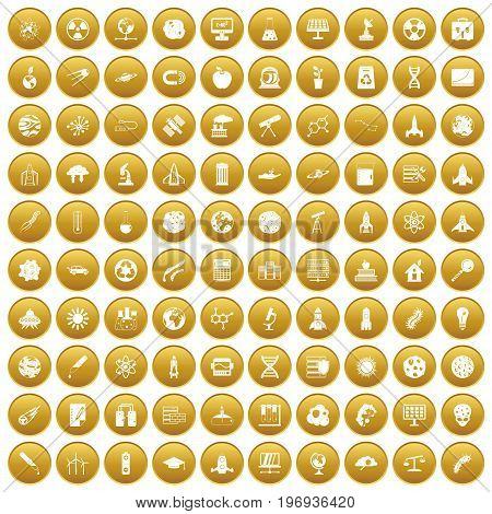 100 space icons set in gold circle isolated on white vector illustration