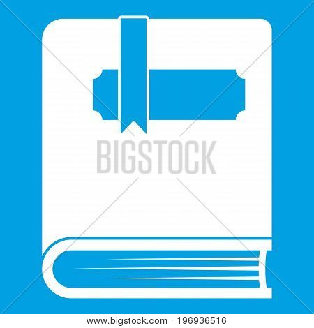 Thick book with bookmark icon white isolated on blue background vector illustration