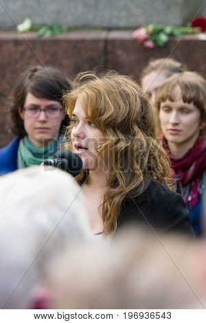 BERLIN - MAY 08 2015: Victory in Europe Day. Treptower Park. The representative of the Russian Embassy in Germany speaking at a memorial ceremony.