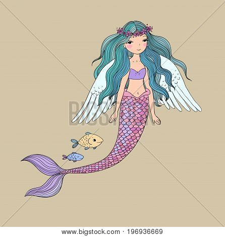 Cute cartoon mermaid and fish. Siren. Sea theme. isolated objects on white background. Vector illustration.